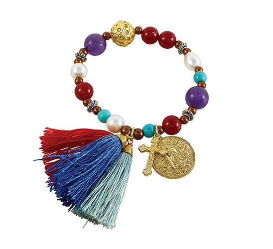 Our Lady of Guadalupe Gemstone Tassel Bracelet