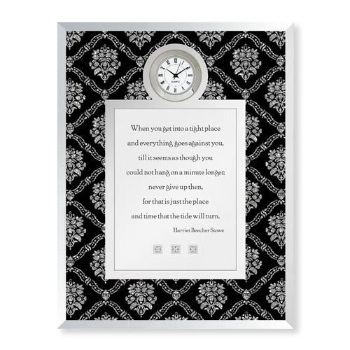 Never Give Up- Harriet Beecher Stowe Framed Table Clock