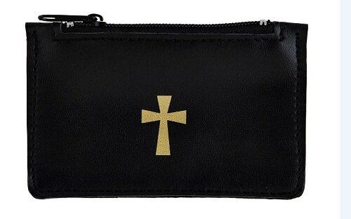 Black Imitation Leather Rosary Case - 6/pk
