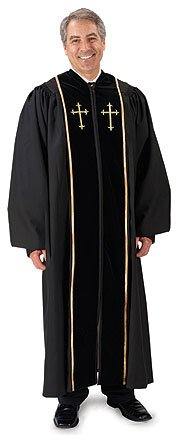 Cambridge™ Pulpit Robe with Embroidered Gold Crosses