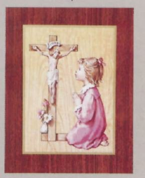 Print Girl Prays with Crucifix