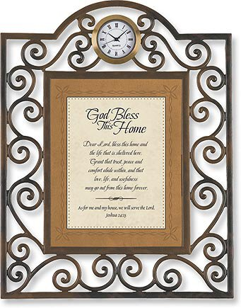 God Bless This Home Joshua 24:15 Table Clock