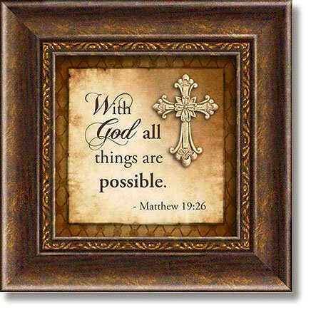 Matthew 19:26 Framed Tabletop Christian Verse
