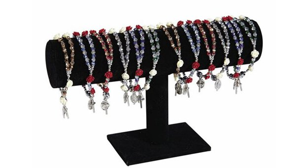 Crystal Silver / Red Roses Rosary Bracelet
