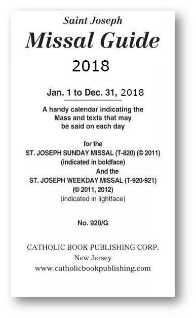 Saint Joseph Missal Guide 2018