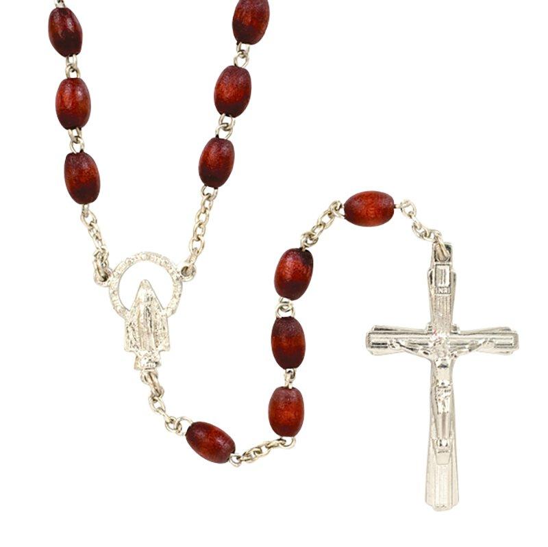 Cordovan Wood Oval Rosary - 12/pk