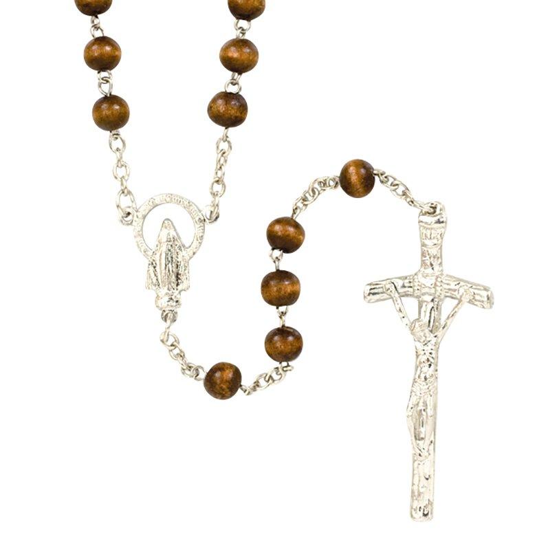 Brown Wood Round Rosary - 12/pk