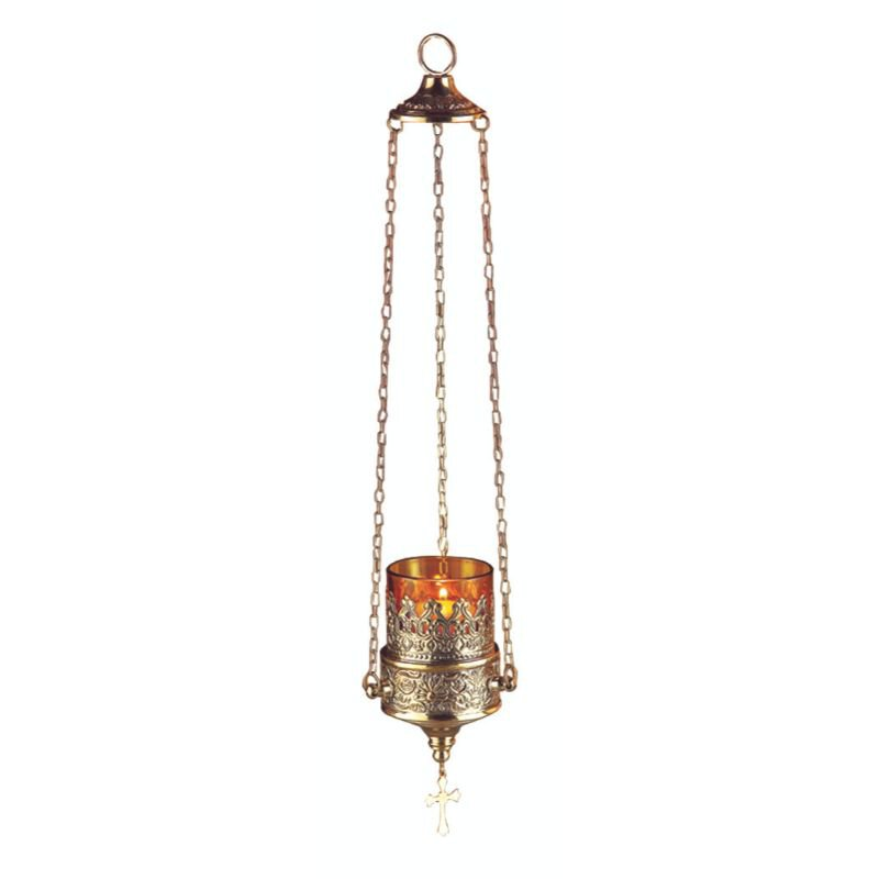 Sudbury Brass™ Hanging Sanctuary Lamp with Amber Votive Glass