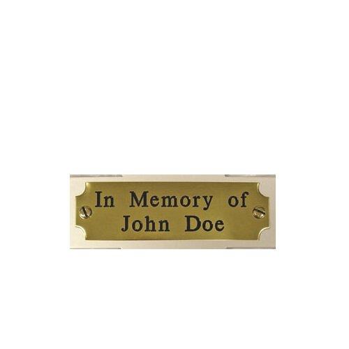 """""""In Memory"""" Memorial Cross Plaque - Blank Plaque"""