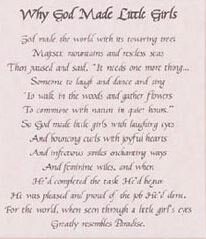 Print Calligraphy Verse Why God Made Little Girls