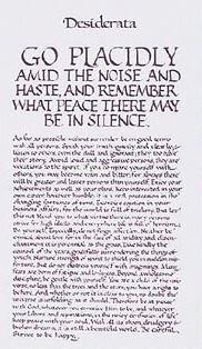 Print Calligraphy Verse Desiderata