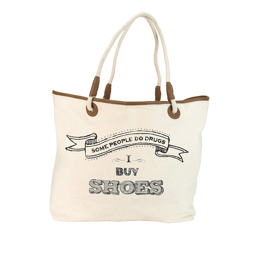 Some People Do Drugs I Buy Shoes Large Rope Handled Tote