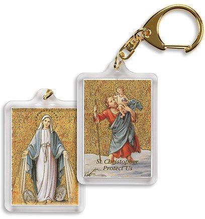 St. Christopher/Miraculous Medal Key Chain - 4/pk
