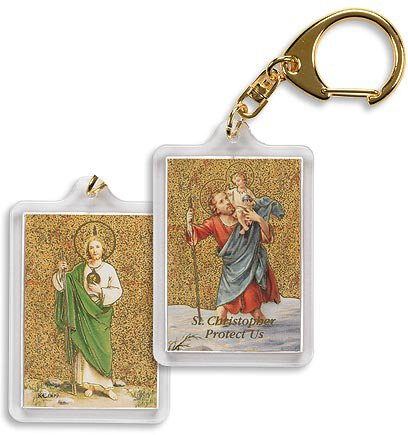 St. Christopher/St. Jude Key Chain - 4/pk