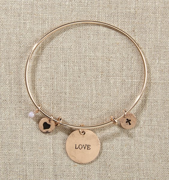 Grateful Heart Gold Bangle Bracelet with Love, Heart, Cross
