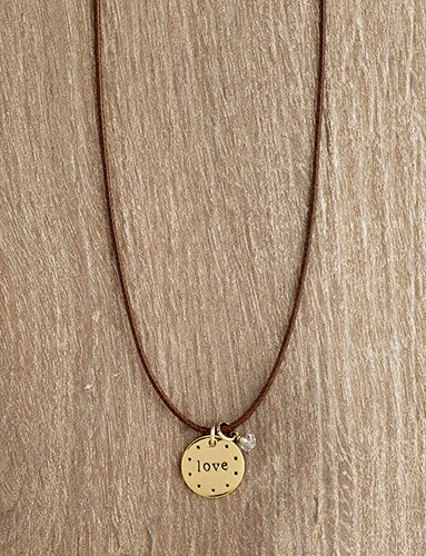 Urban Hope- Gold Love Circle on Thin Brown Cord Necklace with Crystal Dangle Necklace