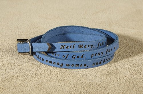 Hail Mary Prayer Leather Wrap Bracelet- Soft Blue