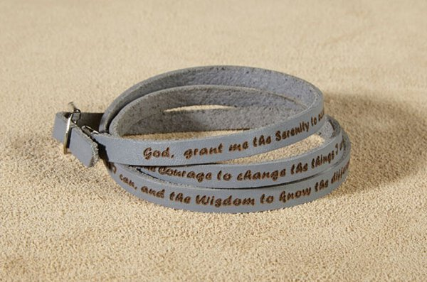 Grey Serenity Prayer Leather Wrap Bracelet - 6/pk