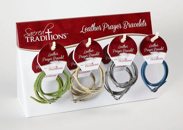 Leather Wrap Prayer Bracelets-24Pcs