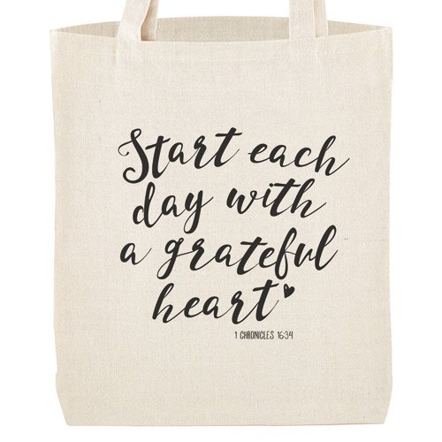 Grateful Heart Tote Bag with Inside Pocket - 12/pk