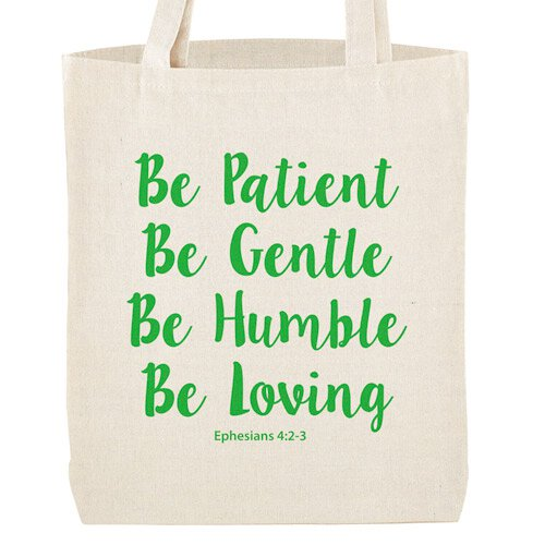 Be Patient Tote Bag with Inside Pocket - 12/pk