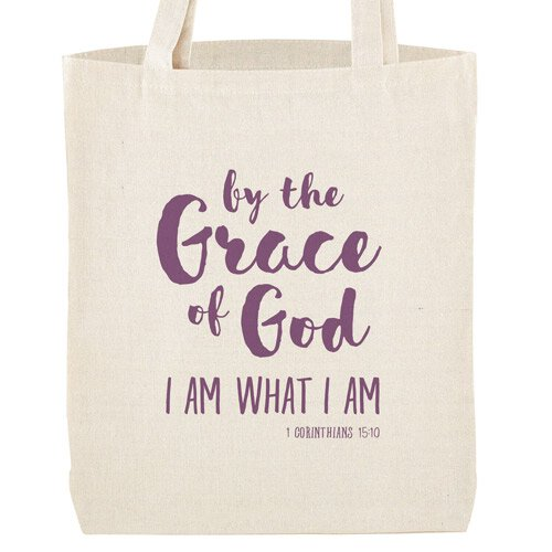 By the Grace of God Tote Bag with Inside Pocket - 12/pk