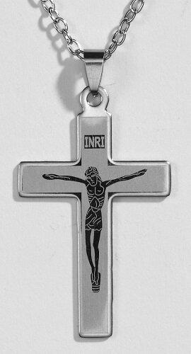 Laser Engraved Crucifix Pendant - 12/pk