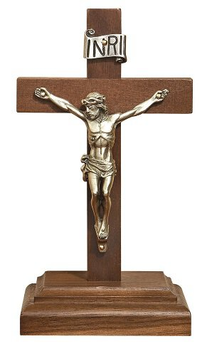 "6"" Walnut Standing Crucifix"
