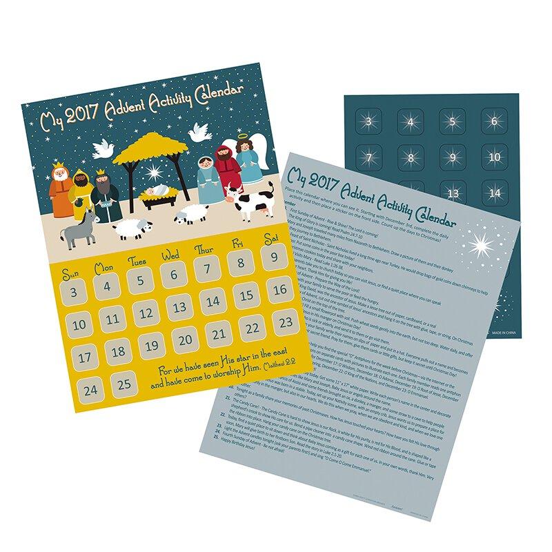 2017 Starlight Nativity Advent Calendar with Stickers - 24/pk