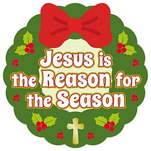 Jesus is the Reason Christmas Wreath Auto Magnet - 24/pk