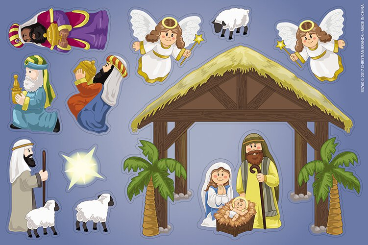 Nativity Magnet Set - 12 sheets/pk