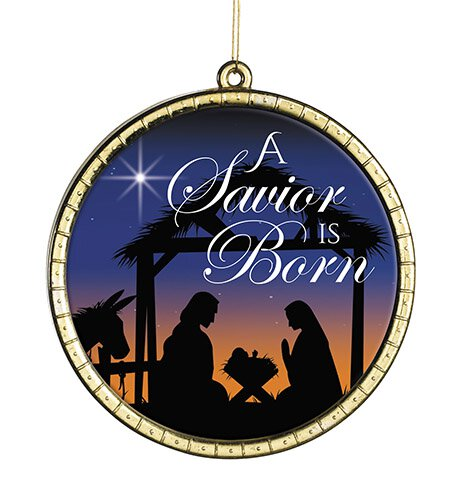 A Savior is Born Round Ornament - 18/pk