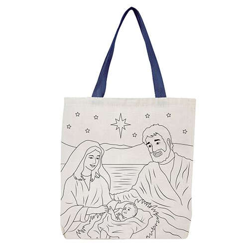 Silent Night, Holy Night Color-Your-Own Tote Bag - 12/pk