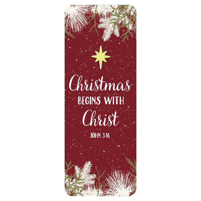 Christmas Begins with Christ Lapel Pin with Bookmark - 12/pk