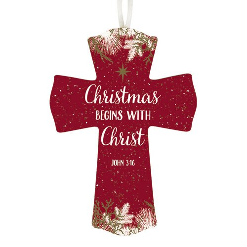Christmas Begins with Christ Cross - 12/pk