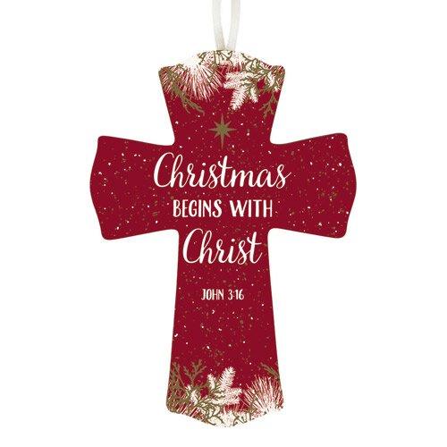 Christmas Begins with Christ Cross - 12/pk