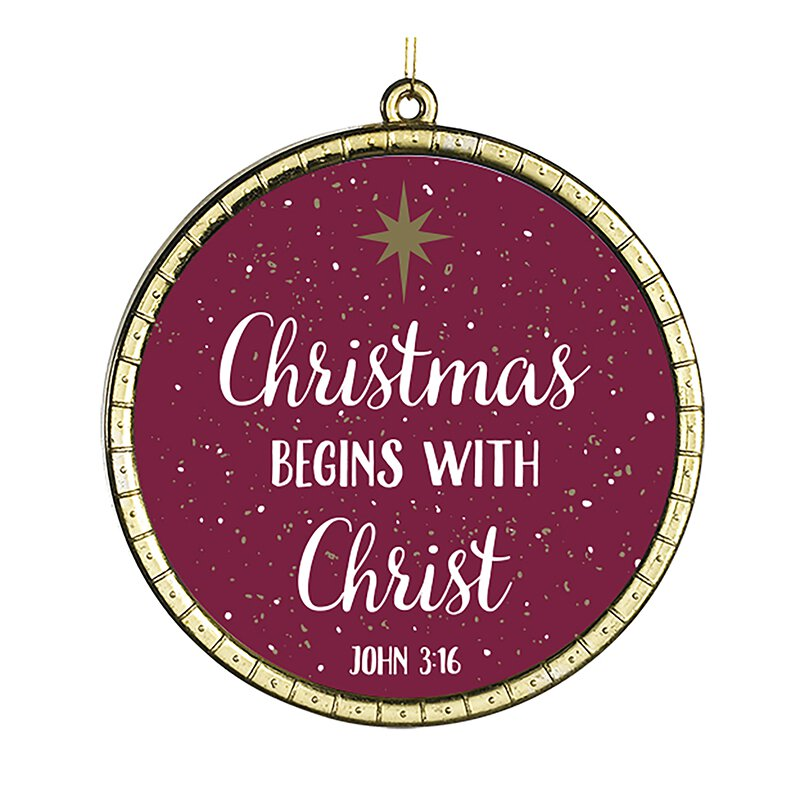 Christmas Begins with Christ Round Ornament - 18/pk