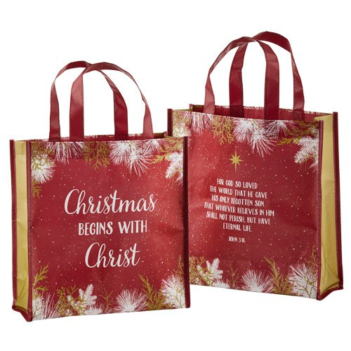 Christmas Begins with Christ Laminated Tote Bag - 12/pk