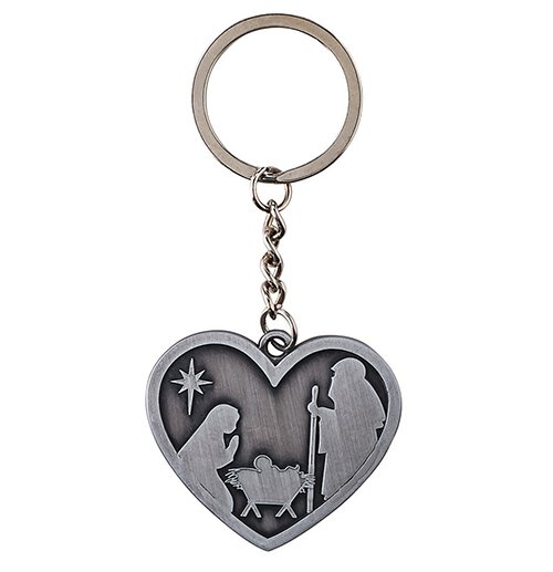 Nativity Heart Key Chain - 12/pk