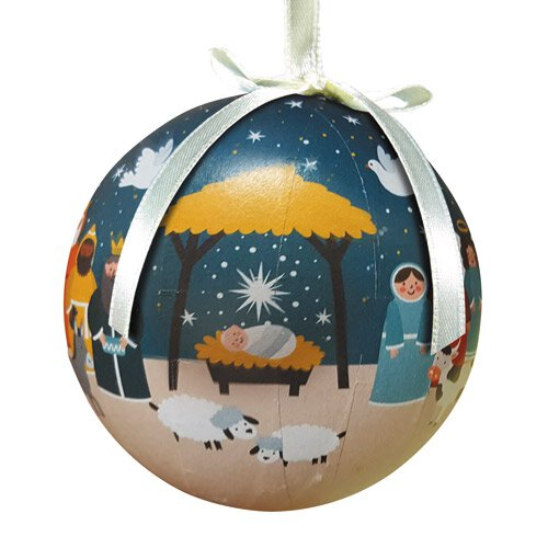 Starlight Nativity Decoupage Ornament - 6/pk