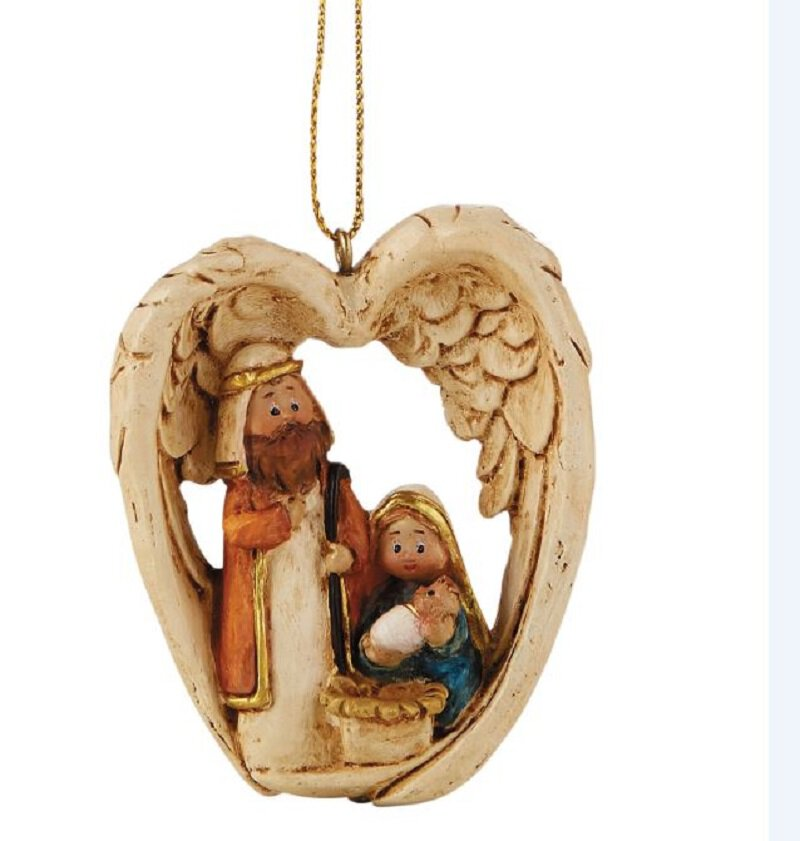 Nativity with Angel Wings Ornament - 12/pk