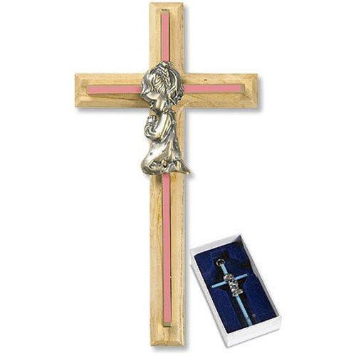 """8"""" Oak/Brass Pink Baby Girl Cross"""