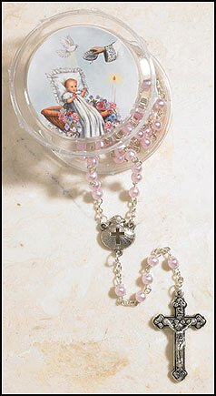 Girl's Pink Baptism Rosary