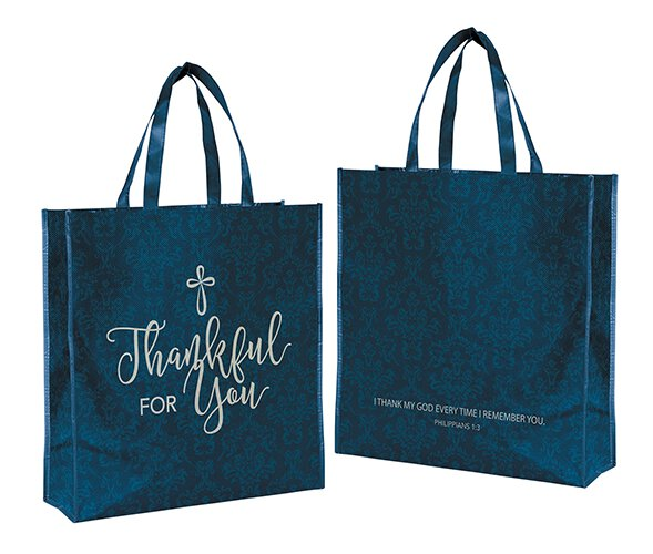 Thankful for You Laminated Tote Bag - 12/pk