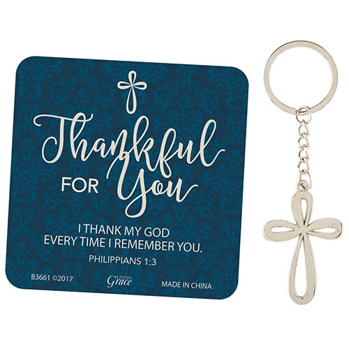 Thankful for You Key Chain with Card - 12/pk