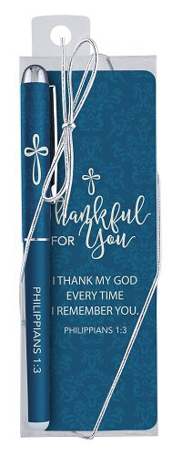 Thankful for You Gift Pen with Bookmark - 12/pk