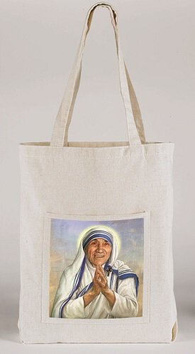 St. Teresa of Calcutta Canvas Tote Bag with Pocket - 12/pk