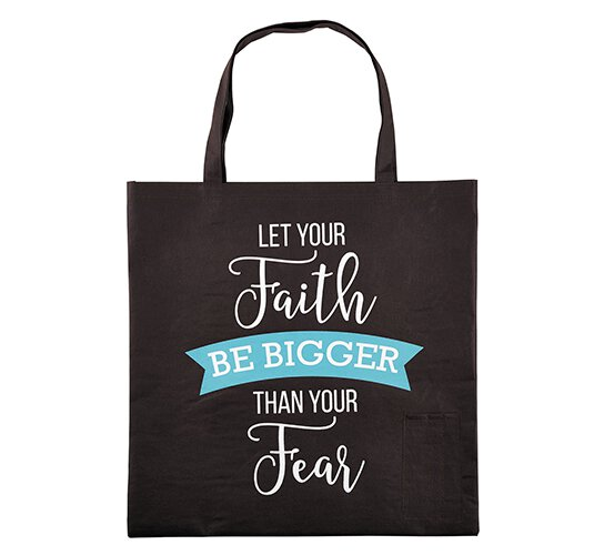 Let Your Faith Be Bigger Than Your Fear Tote Bag with Pen Pockets - 12/pk