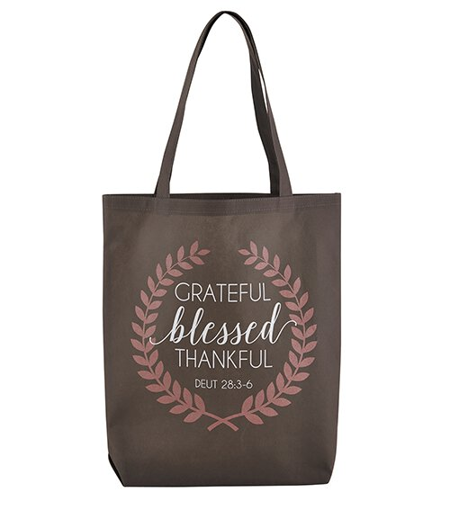 Grateful, Thankful, Blessed Tote Bag - 12/pk