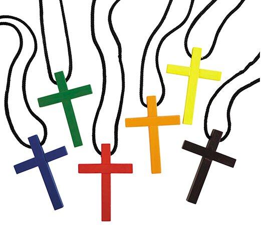 Colorful Cross Pendant Assortment (6 Asst) - 24/pk